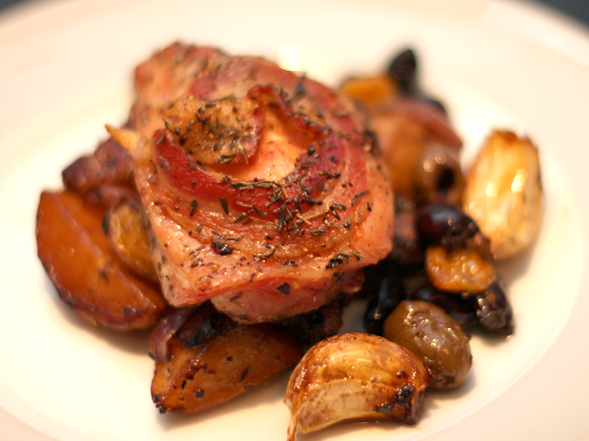 Roast Chicken Thighs With White Wine Pancetta And Olives Wishful
