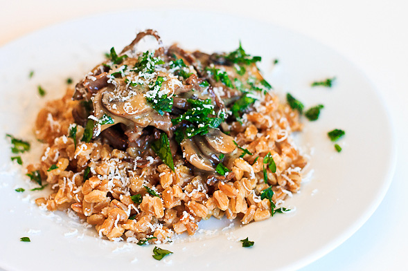 Farro Recipe With Mushrooms Fresh Parsley And Truffle Butter
