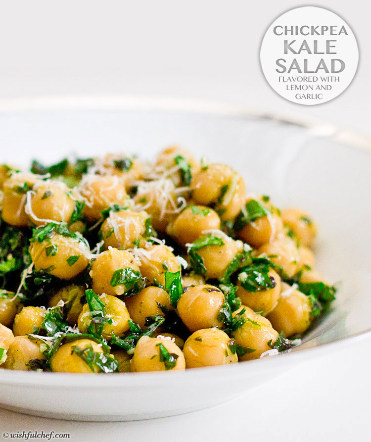 Chickpea kale salad flavored with lemon and garlic wishful chef chickpea kale salad flavored with lemon and garlic forumfinder Gallery