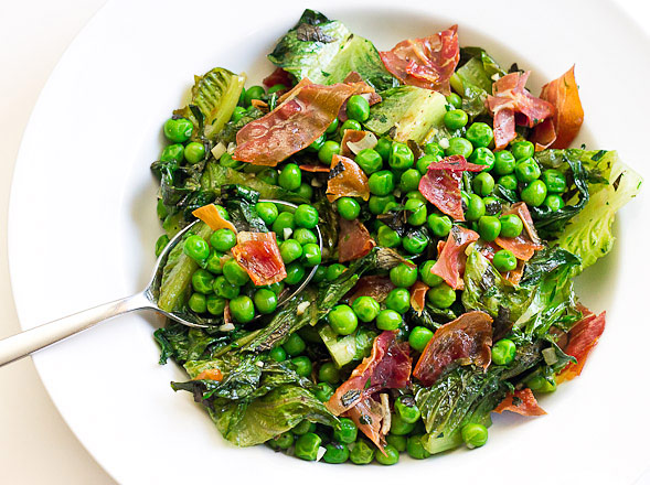 Peas and Romaine Lettuce with Mint and Crispy Prosciutto