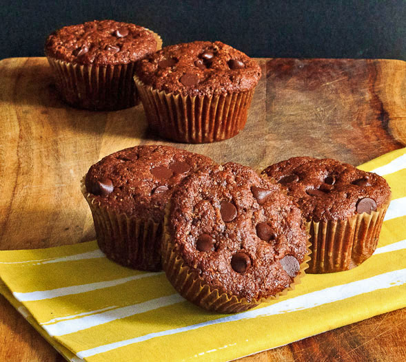 Whole Wheat Cocoa Chocolate Chip Muffins