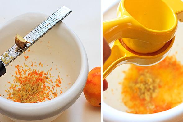 Place orange zest, ginger zest and orange juice in a bowl.