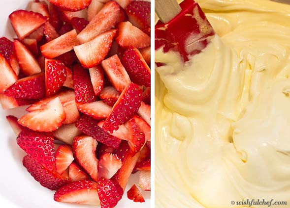 Cut up strawberries, then whip together cream mixture.