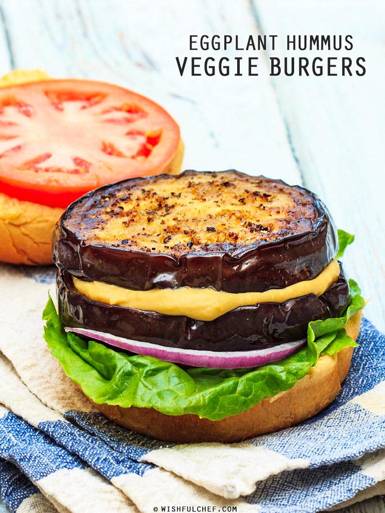 Eggplant Hummus Veggie Burgers